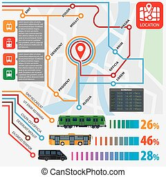 Public transport routes stations statistics vector infographics flat template