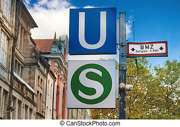 Public transport sign of the S-Bahnd and U-Bahn