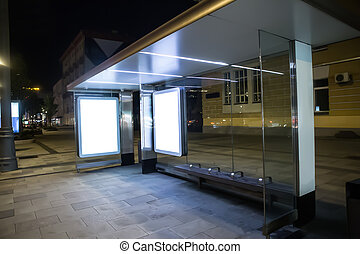 transport stop at night in the city