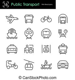 Public transport thin line icon set