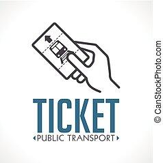 Public transport ticket logo - subway metro railway