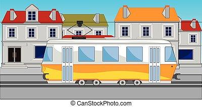 Public transport tram on street of the city