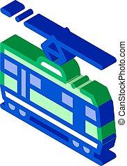Public Transport Tramway isometric icon vector illustration...