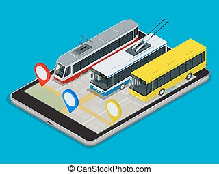 Public Transport trolleybus, bus, tram . Online Schedule App for tablet. Flat 3d vector isometric illustration