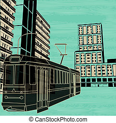 Public Transport, Vector background illustration with a tram and street scene