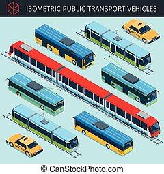 public transport vehicles - Isometric public transport...