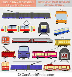 Public transportation icon infographics. Tram, trolleybus; ...