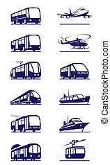 Public transportation icon set - vector illustration