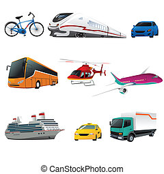 Public transportation icons - A vector illustration of ...