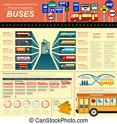 Public transportation ingographics. Buses. Vector ...