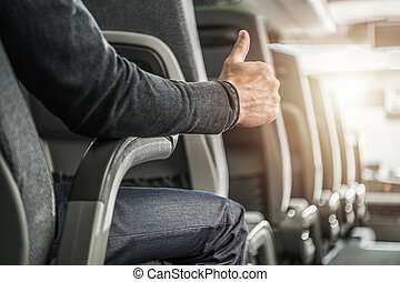 Public Transportation Passenger Showing His Thumb Up. ...