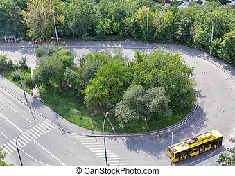 public trolleybus stop aerial view