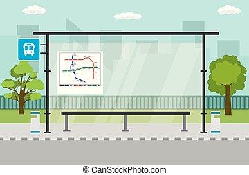 public, vide, moderne, transport, paysage, arrêt, urbain, fond