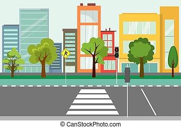 public, vide, route, arbres, rue, ville