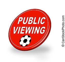 A stylized red badge symbolizing public viewing. All on white background.