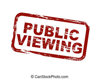 A stylized red stamp symbolizing public viewing. All on white background.