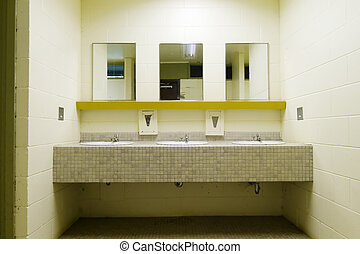 Sinks and mirrors in a public bathroom