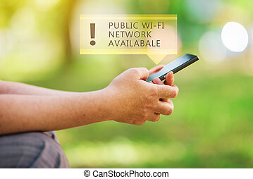Public wi-fi network available message on smartphone in ...