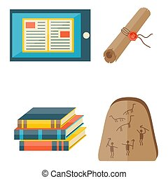 publicatie, iconen, typografie, magazine, vector, boekjes , boekhandel, document, kennis, illustration.