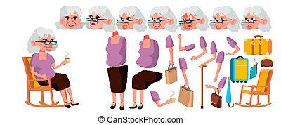publicidad, aged., gestures., cara, 3º edad, positivo, persona, design., viejo, creación, pensioner., aislado, set., personas., ilustración, emociones, anciano, caricatura, mujer, vector., animated., animación, portrait.
