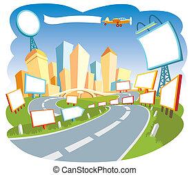 publicidad, ciudad, 2