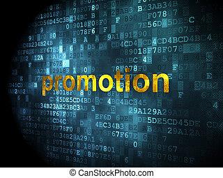 publicidad, concept:, promoción, en, fondo digital