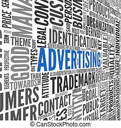 publicidad, concepto, en, palabra, etiqueta, nube
