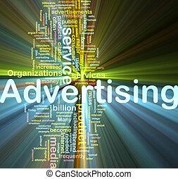 publicidad, palabra, nube, encendido