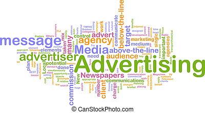 publicidad, palabra, nube