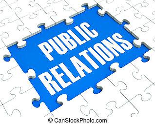 publicidad, rompecabezas, relaciones, prensa, público, ...