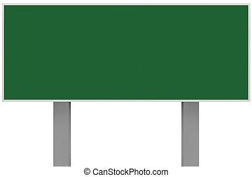 publicidad, signboard, cartel, grande, verde, blanco, gris, espacio, signage, metal, zona lateral de camino, metálico, tabla, placa, vacío, copia, rectangular, aislado, plano de fondo, señal, poste indicador, poste, horizontal, rectángulo, anuncio, poste, anuncio