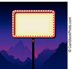 publicidad, signo., camino, vendimia, retro, lights., cartelera, 3d