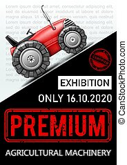 publicité, coloré, affiche, machinerie, agricole, exposition