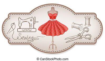 publicité, couture, main, robe, atelier, outils, autocollants, dessiné, cadre, décoratif