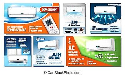 publicité, ensemble, air, affiches, vecteur, climatiseur