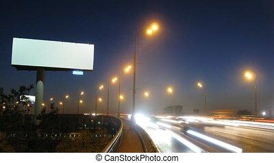 publicité, grand, planche, bord route, blanc, route