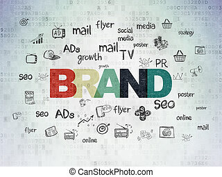 publicité, papier, concept:, fond, numérique, marque, données