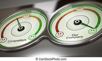 publicité, point référence, comparatif, ou