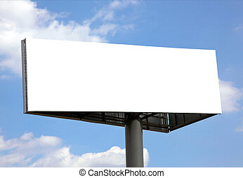 Publicity board - Blank billboard against blue sky, put your...