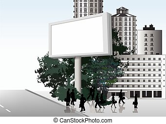 Publicity board in the street. Vector background - Please...