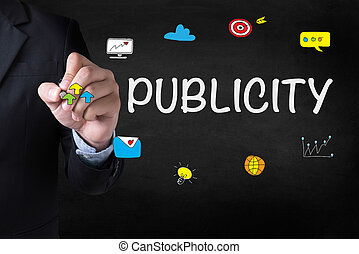 PUBLICITY Businessman drawing Landing Page on blurred...