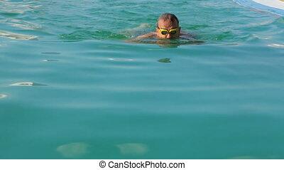 publiczność, kałuża, pływacki, człowiek