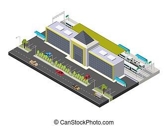 publiczność, pociąg, isometric, wektor, stacja, gmach