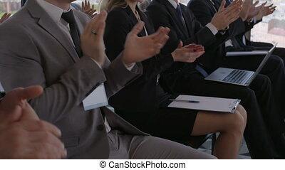 publiek, applauding, zakelijk