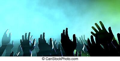 publiek, handen, en, lichten, op, concert