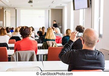 publiek, op, een, zakelijk, conference.