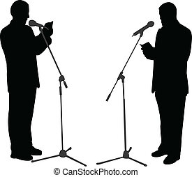 publiek sprekend, silhouettes