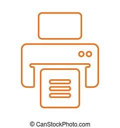 publier, ligne, imprimante, contour, dehors, impression, ...