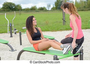 publik, fitness, område