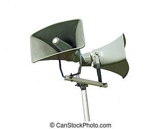publik, system, högljudd högtalare, tilltala